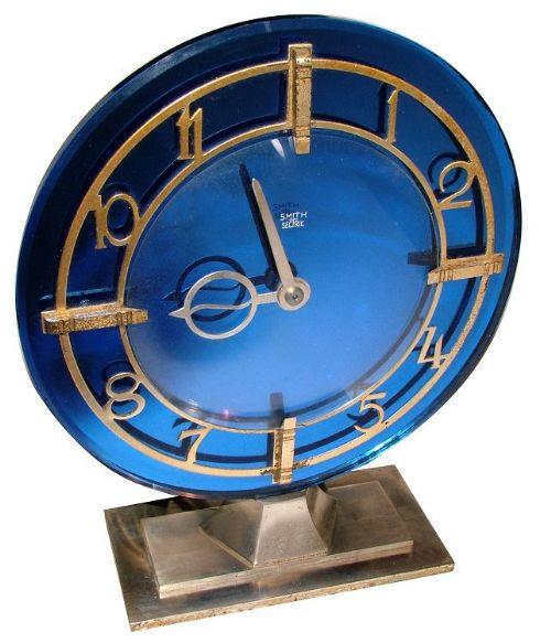 Rare Art Deco Blue Mirrored Clock 423801 Www