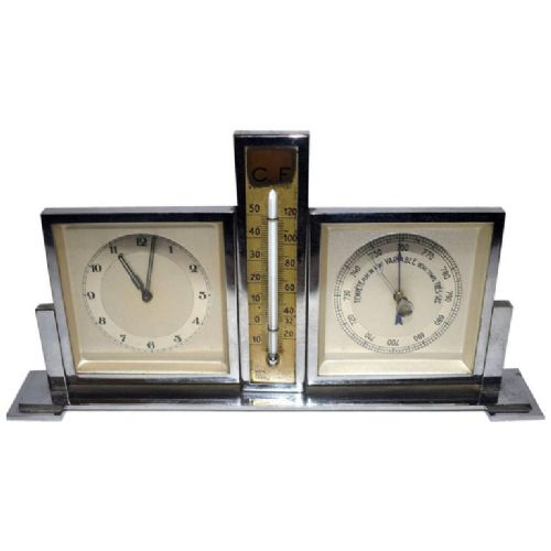 1930's art deco chrome desk top clock and weather station