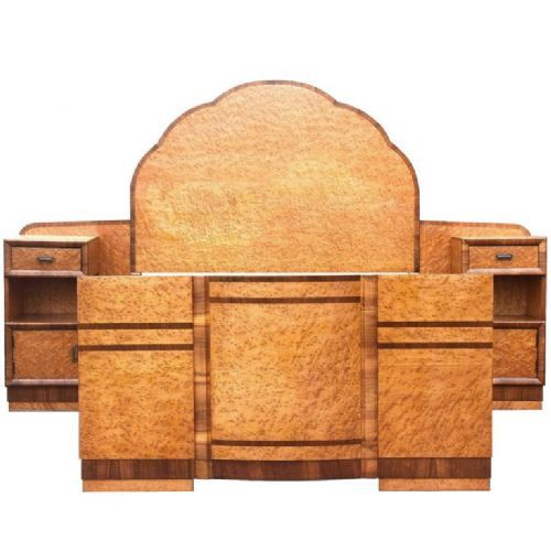 superb 1930's art deco maple bed with integral cabinets