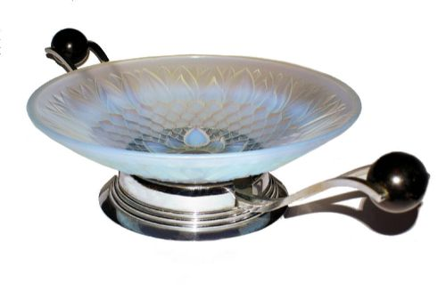 large art deco french opalescent coupe
