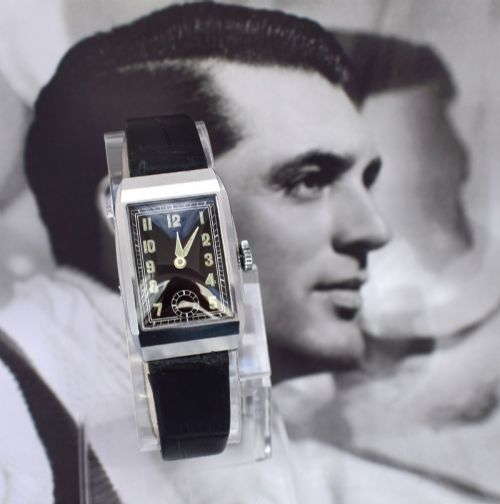 art deco 1930's gents chrome wristwatch never used newly serviced