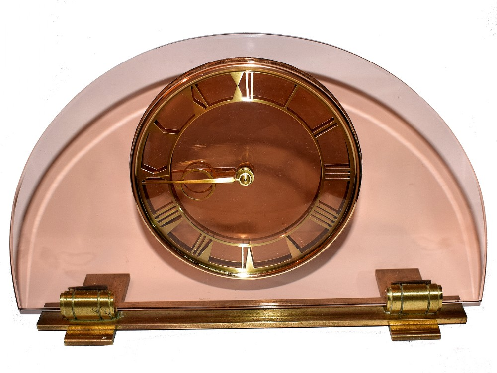 large 1930's art deco peach glass mantle clock