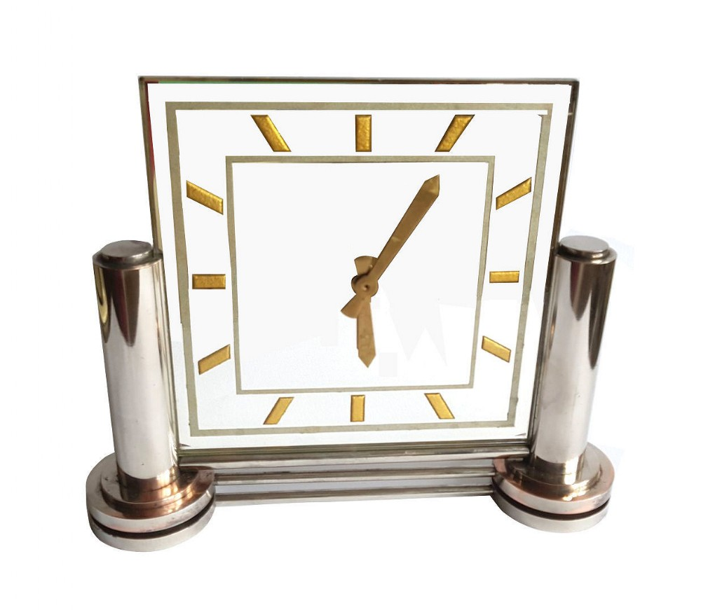 large 1930's modernist french mirror clock by marti