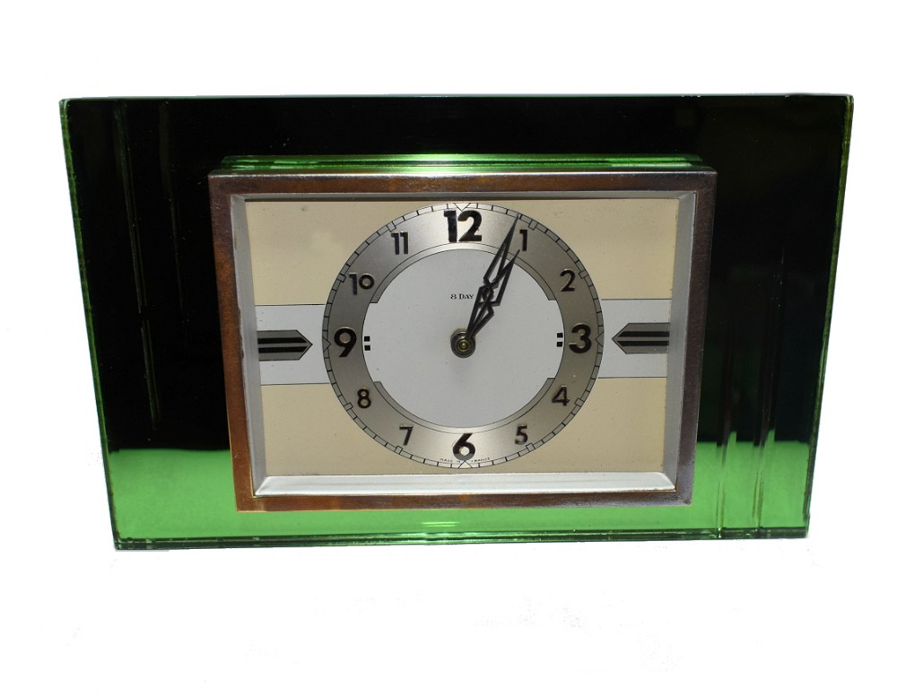 1930's art deco green mirror and chrome clock with 8 day movement