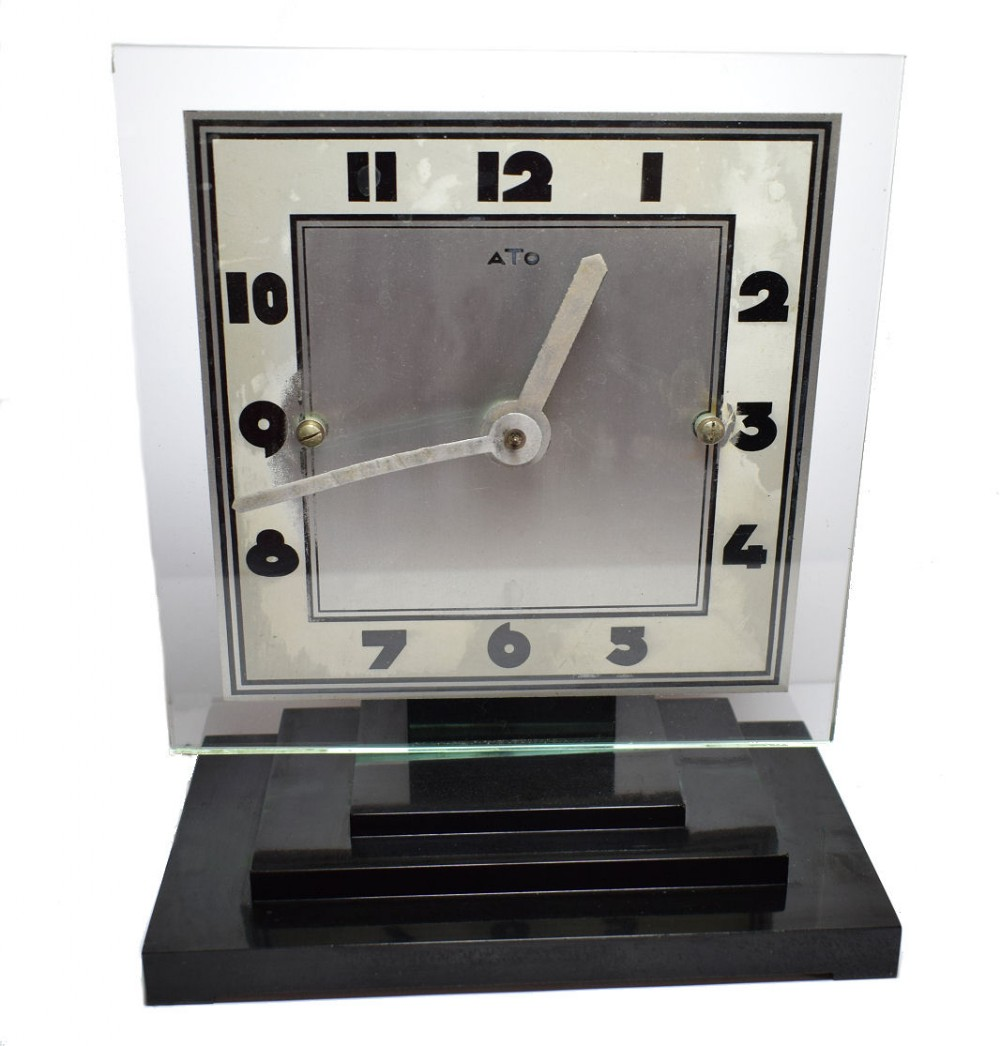 large modernist 1930's art deco bakelite and glass ato clock