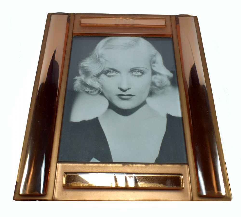 huge art deco peach mirrored bevelled glass picture frame circa 1930
