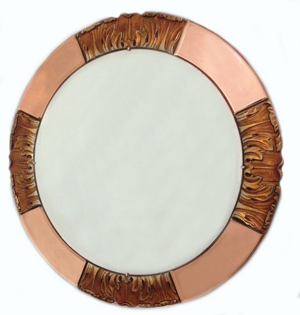 1930's art deco round rose tinted bevelled edge mirror