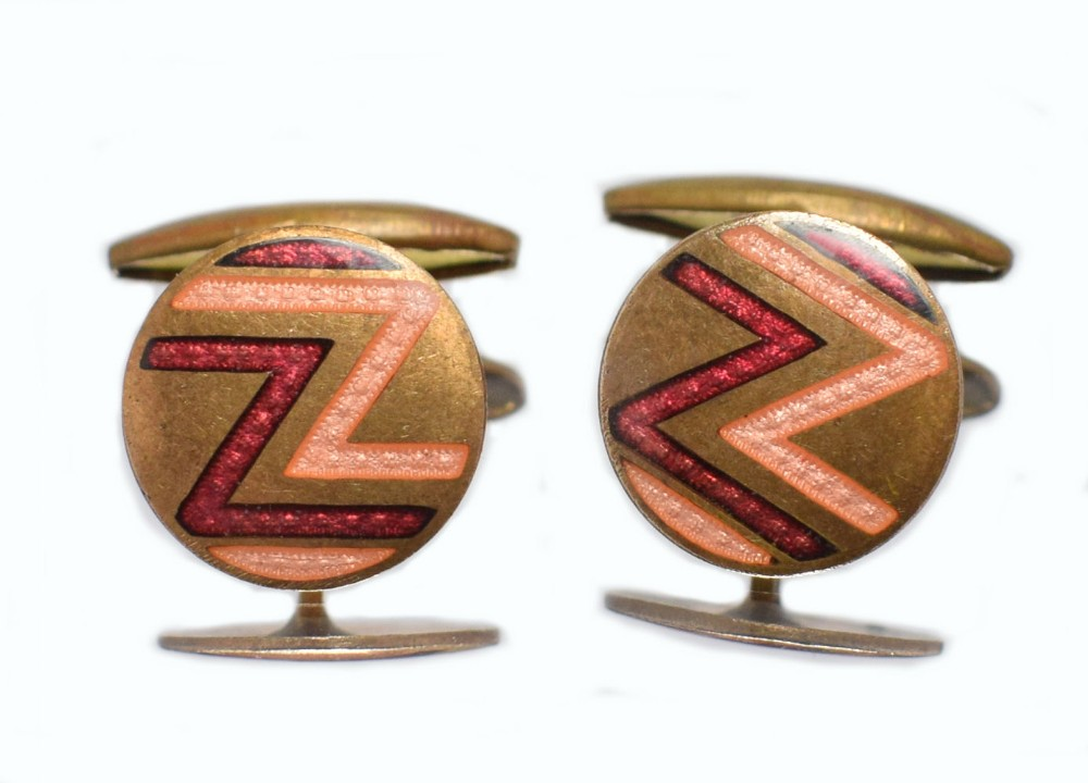 art deco mens enamel cufflinks