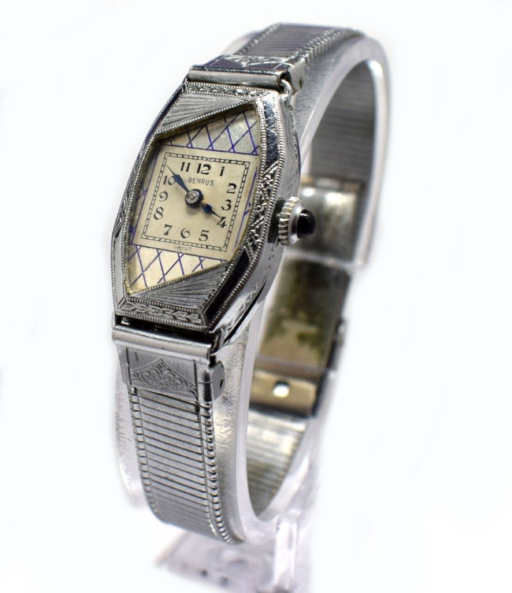 1930's ladies art deco white 14k gold enamel watch