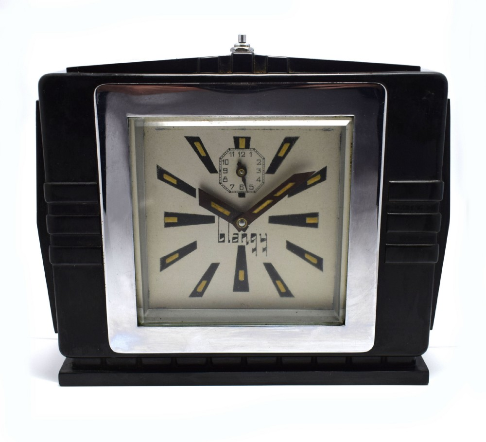 1930's art deco black bakelite clock by blangy