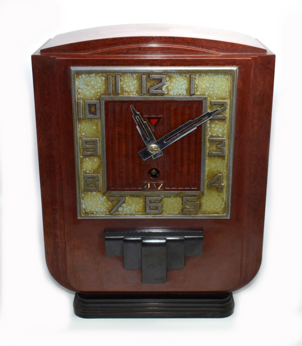 large and impressive 1930's art deco red bakelite mantle clock by jaz