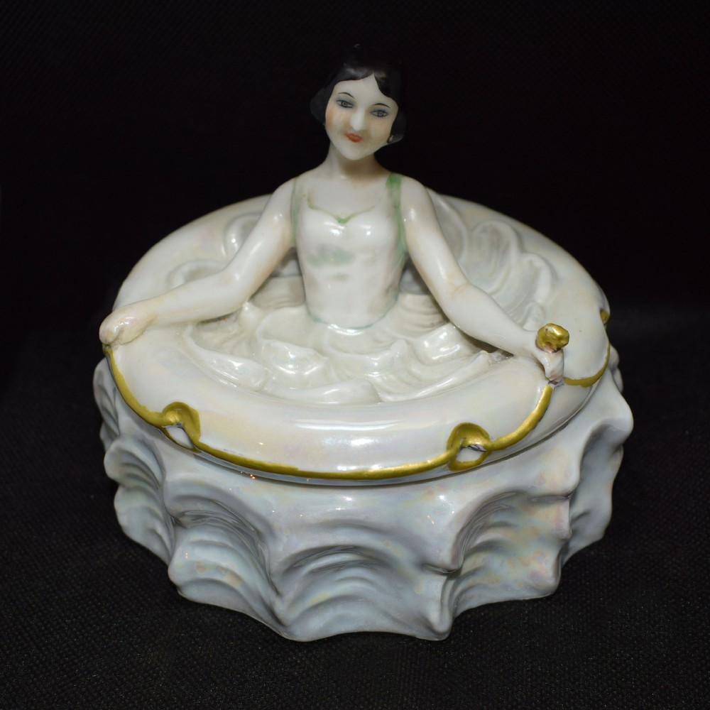 1930's art deco flapper ballerina porcelain powder box