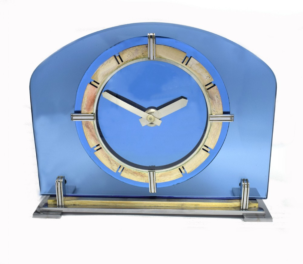 1930's art deco blue glass and mirrored mantle clock