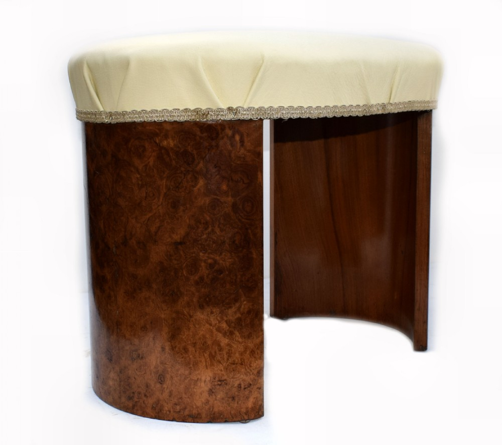 art deco oval shaped stool in figured walnut circa 1930
