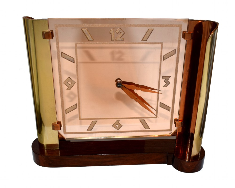 very large art deco streamline modernist 8 day mantle clock circa 1930