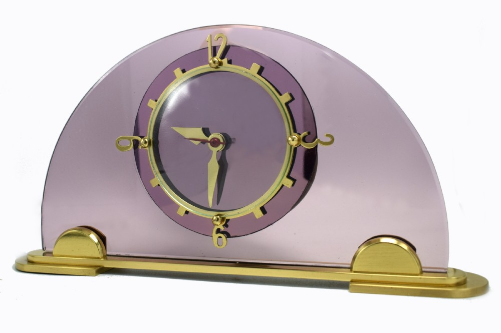 art deco pink mantle clock by smiths clock makers circa 1930