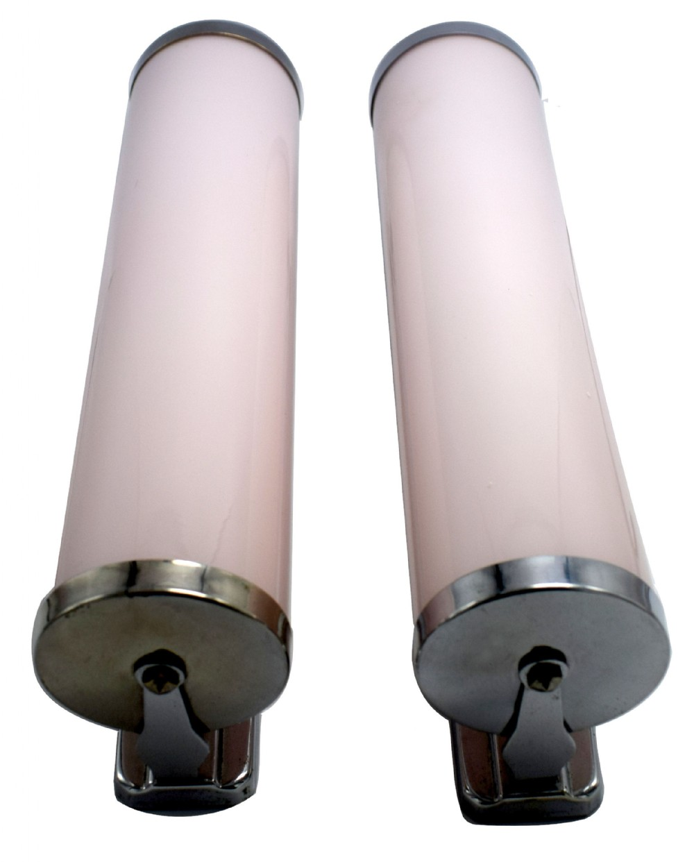 art deco 1930's pair of rose pink strip glass wall lights