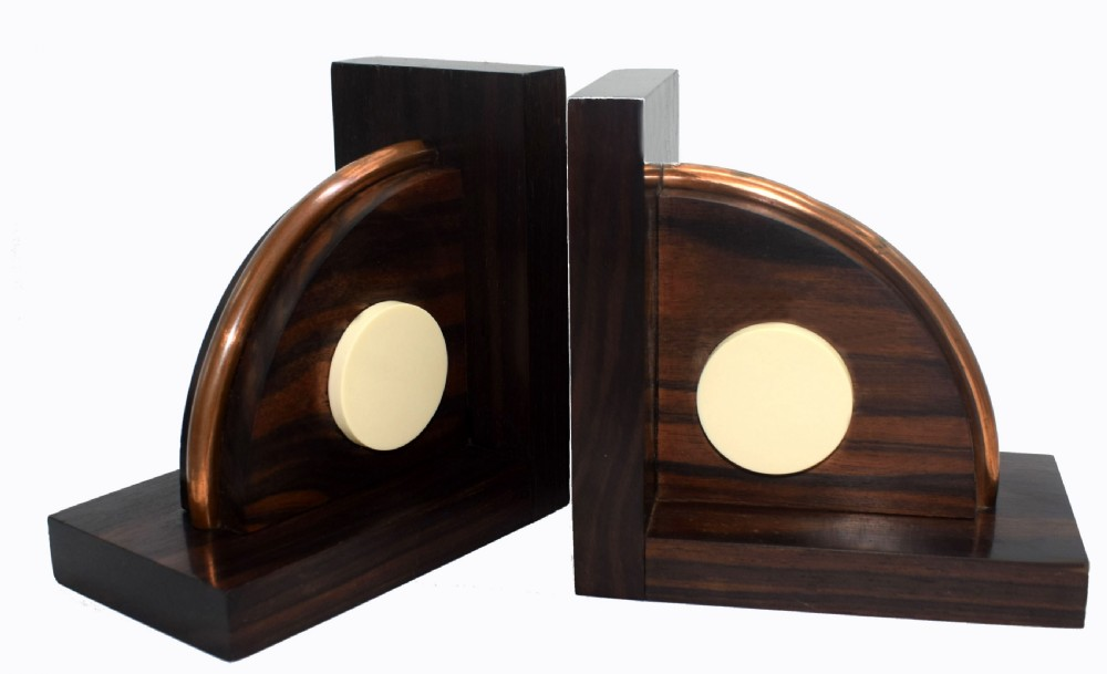 french art deco macassar ebony bookends with bakelite and copper