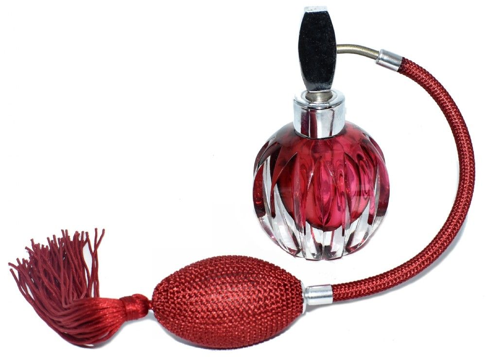 art deco cranberry coloured glass perfume atomiser