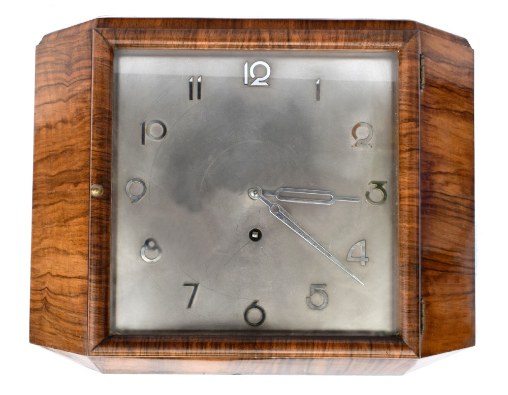 art deco silvered dial wall clock c1930