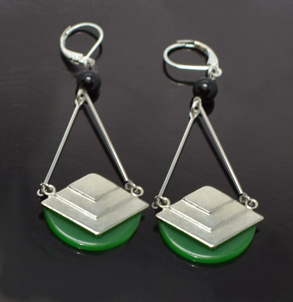 art deco modernist 1930's bakelite and chrome earrings
