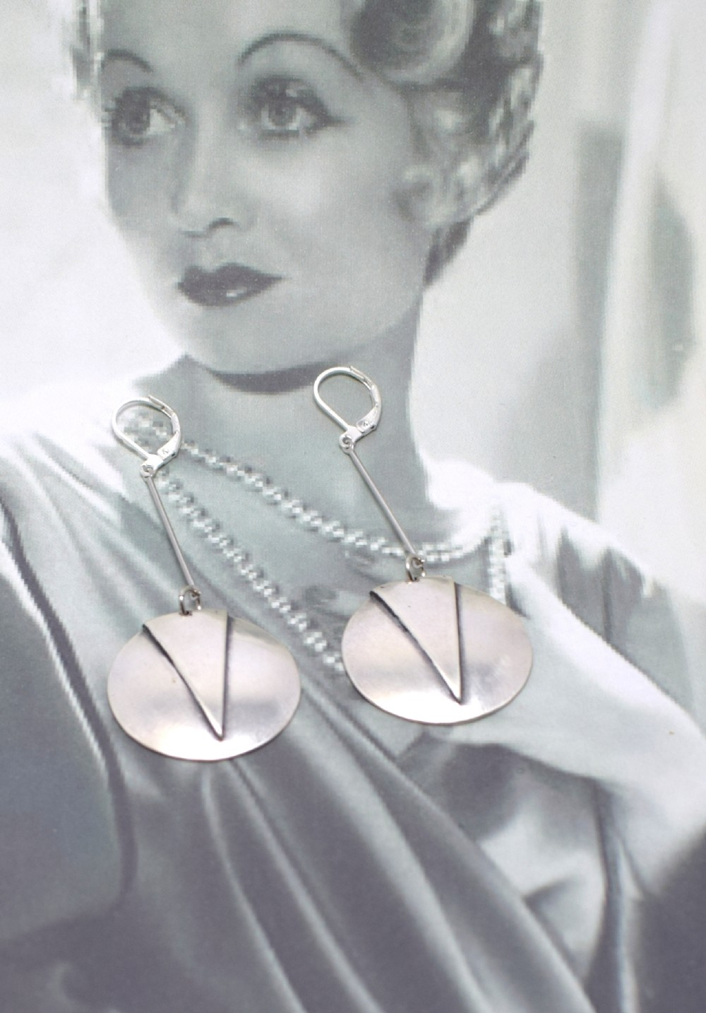 modernist art deco chrome drop earrings