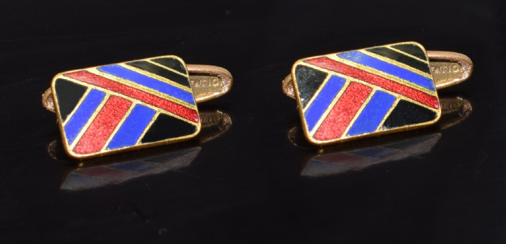 art deco gents english enamel cufflinks c1930