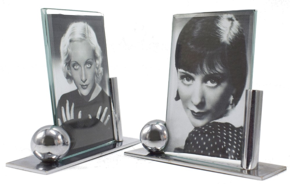 art deco modernist pair of matching chrome picture frames c1930's