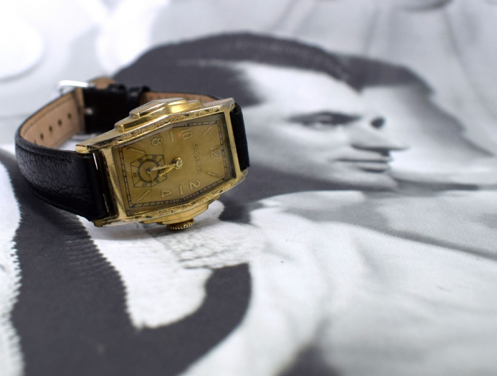 art deco gents skyscraper wrist watch by bulova circa 1937