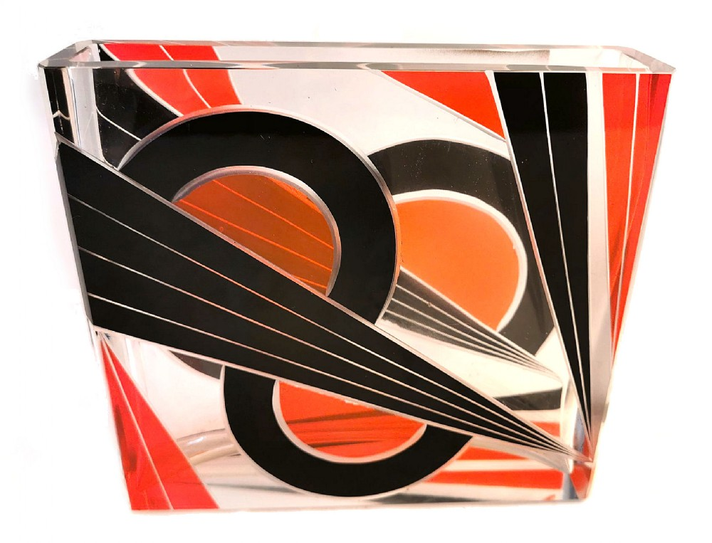 art deco czech glass vase