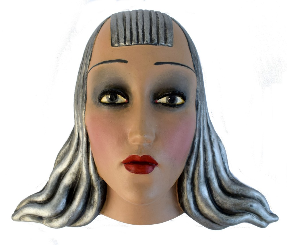 art deco female wall mask plaque