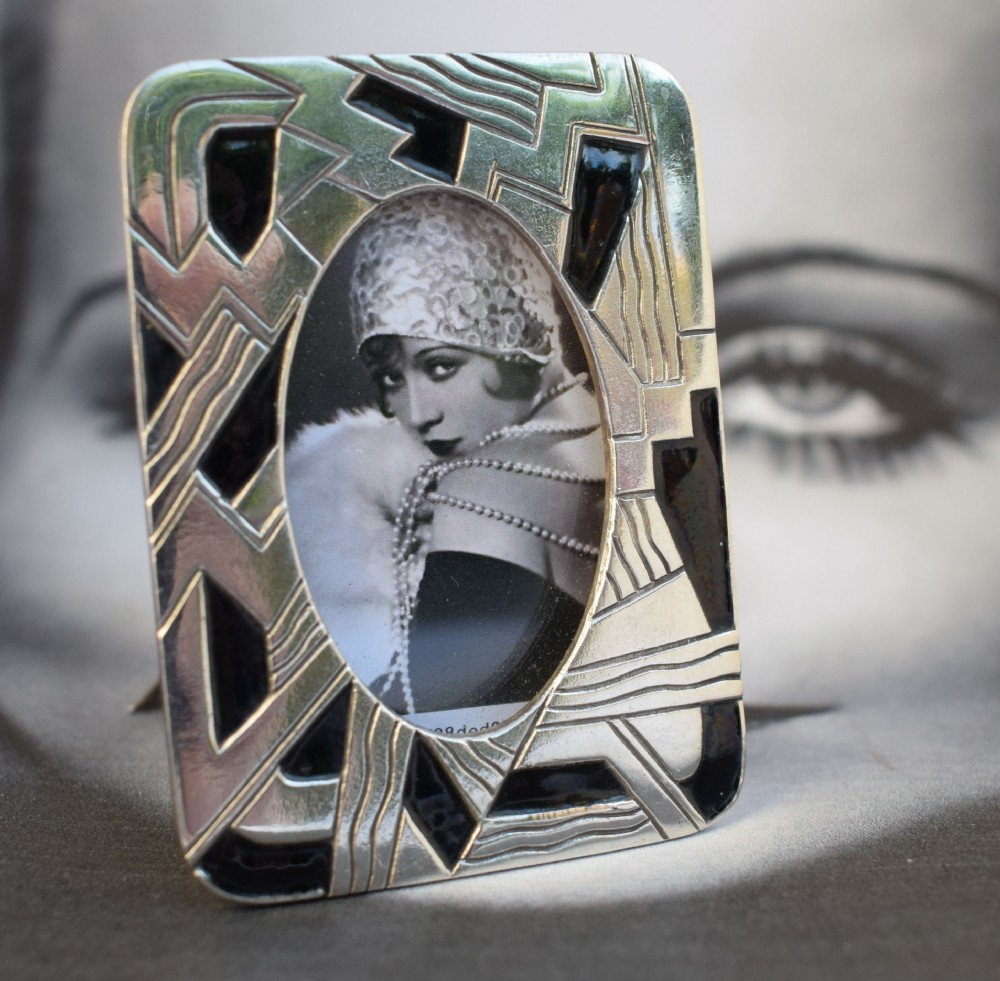 art deco miniature silver plated and enamel picture frame