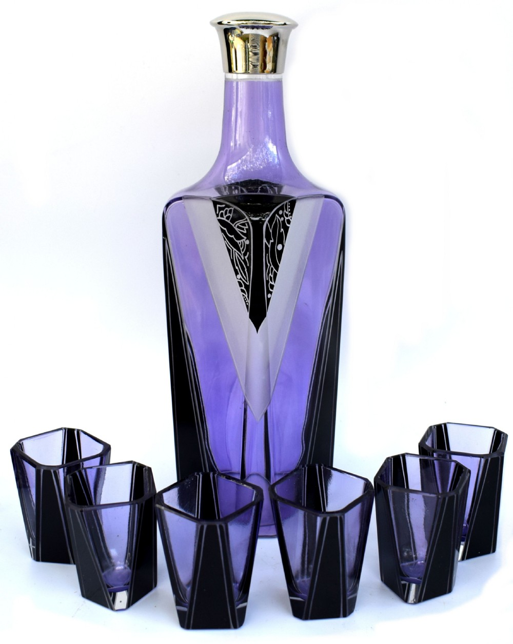 art deco czech glass enamel decanter set