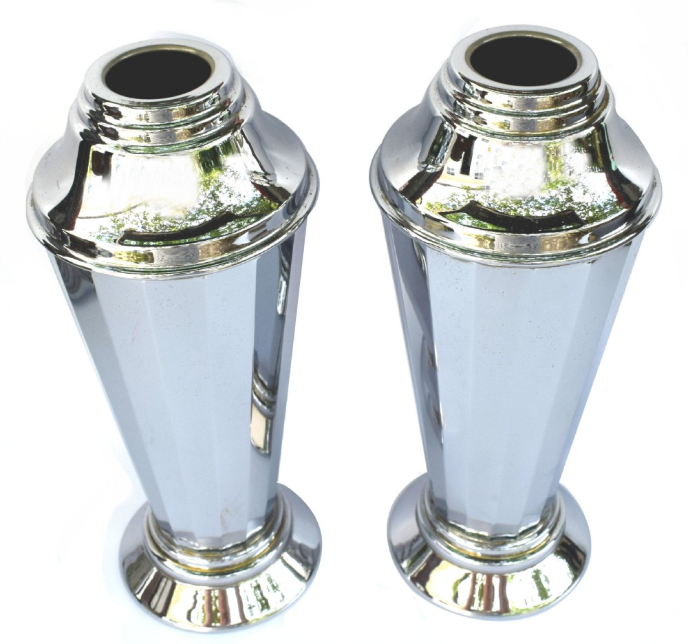 art deco pair of chrome vases c1930