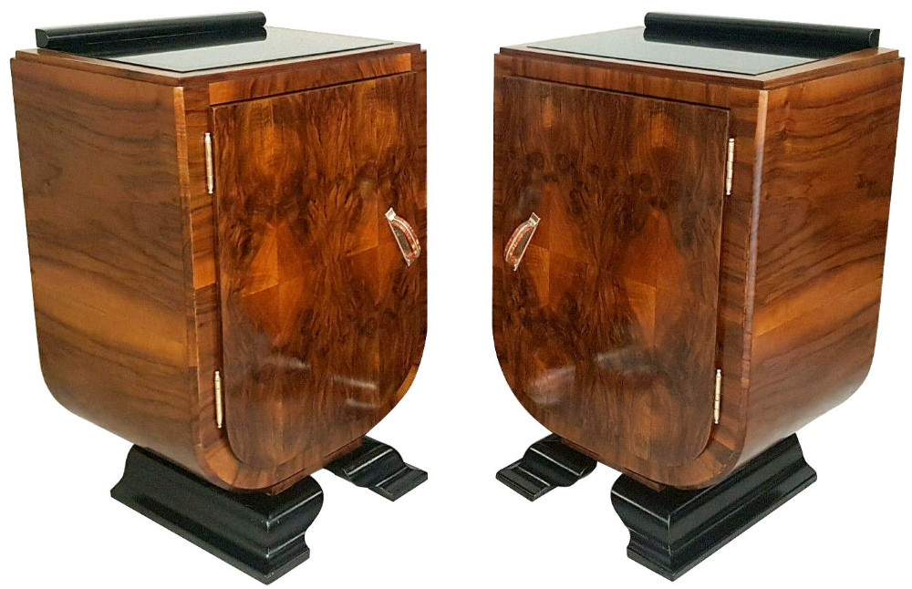 art deco italian pair of matching bedside table cabinets c1930