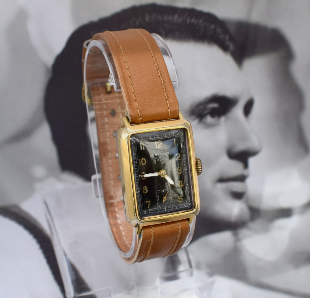 art deco 1930's gents gold plated wrist watch by junghans