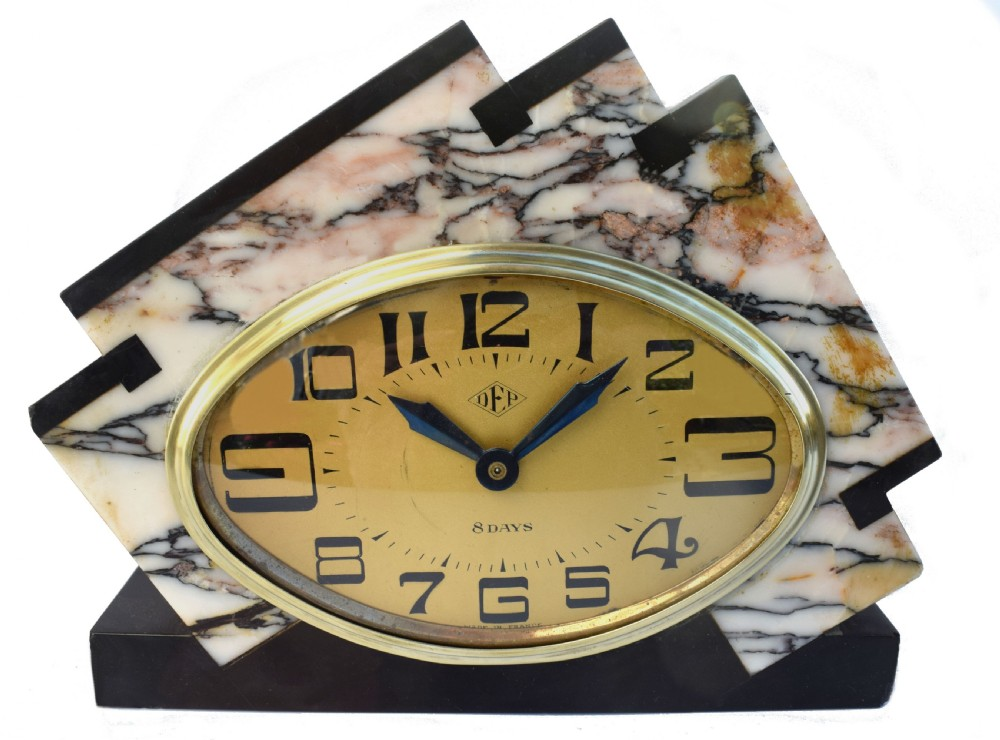 art deco marble eight day mantle clock by dep
