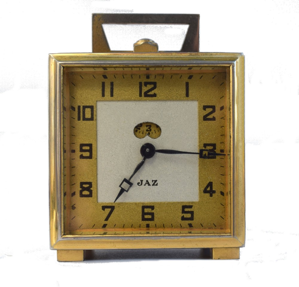 art deco miniature alarm clock by french clockmakers jaz c1930