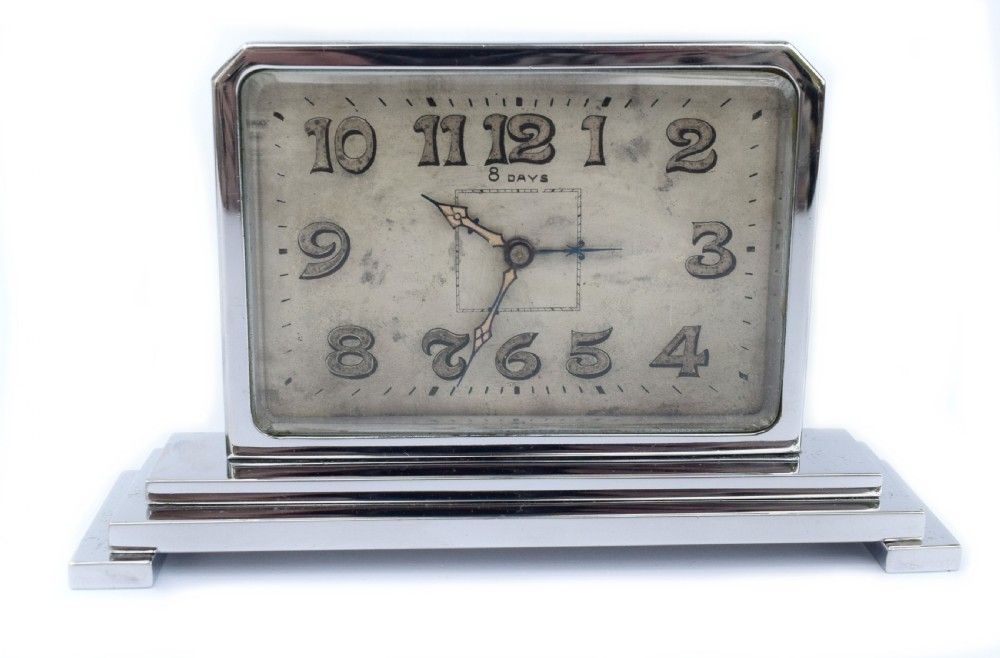 art deco 8 day chrome cased clock c1930