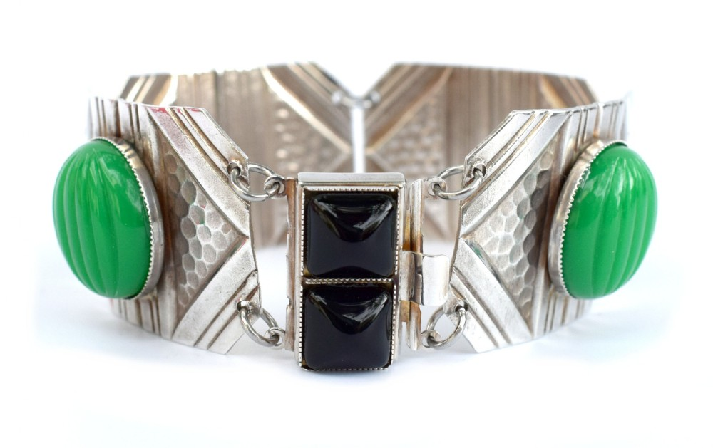 art deco geometric modernist ladies panel bracelet