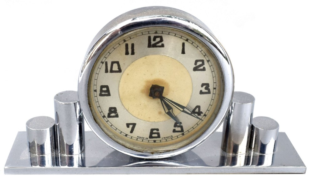 1930's art deco chrome miniature clock