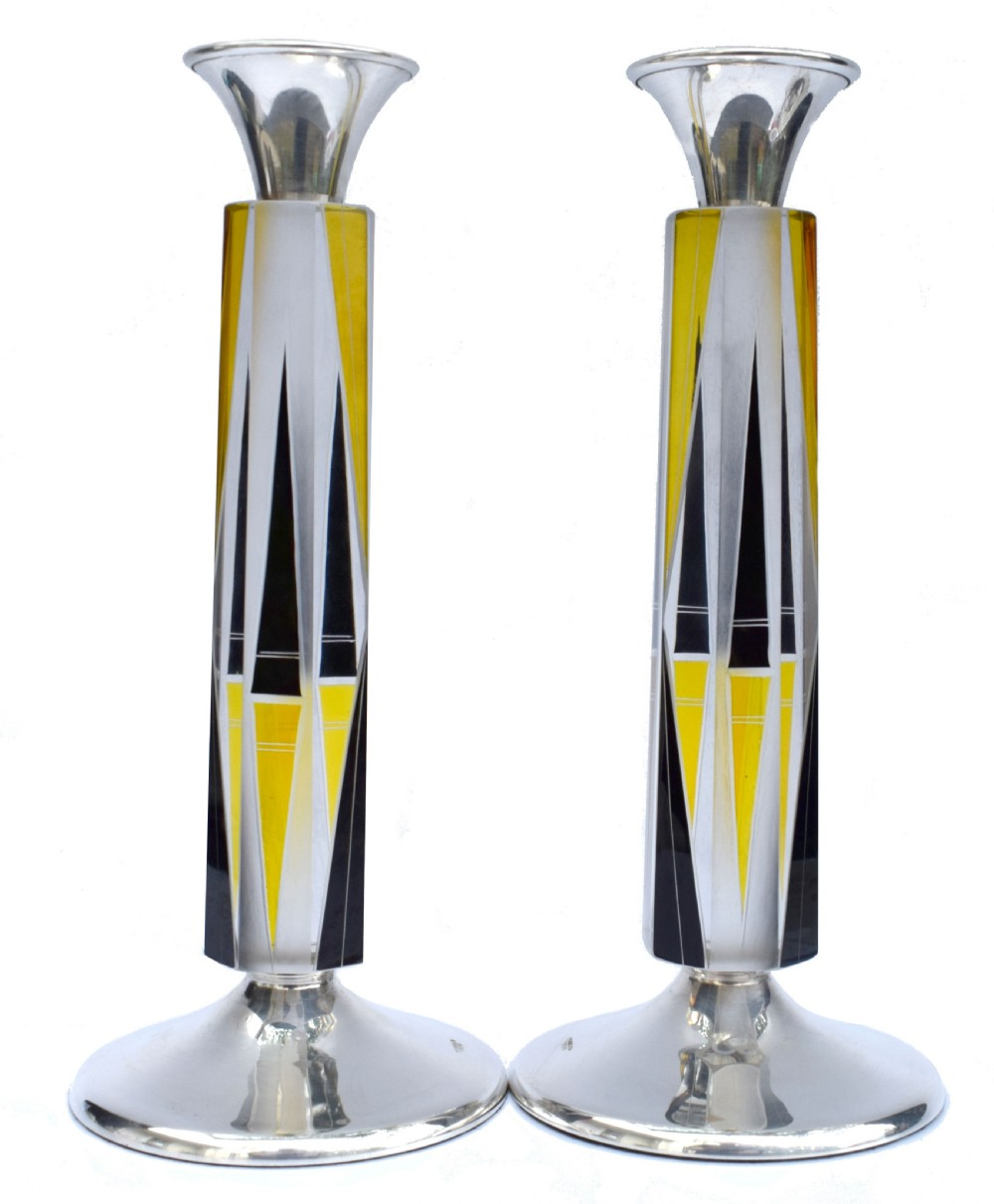 art deco very tall matching pair of solid silver glass candlesticks circa 1930