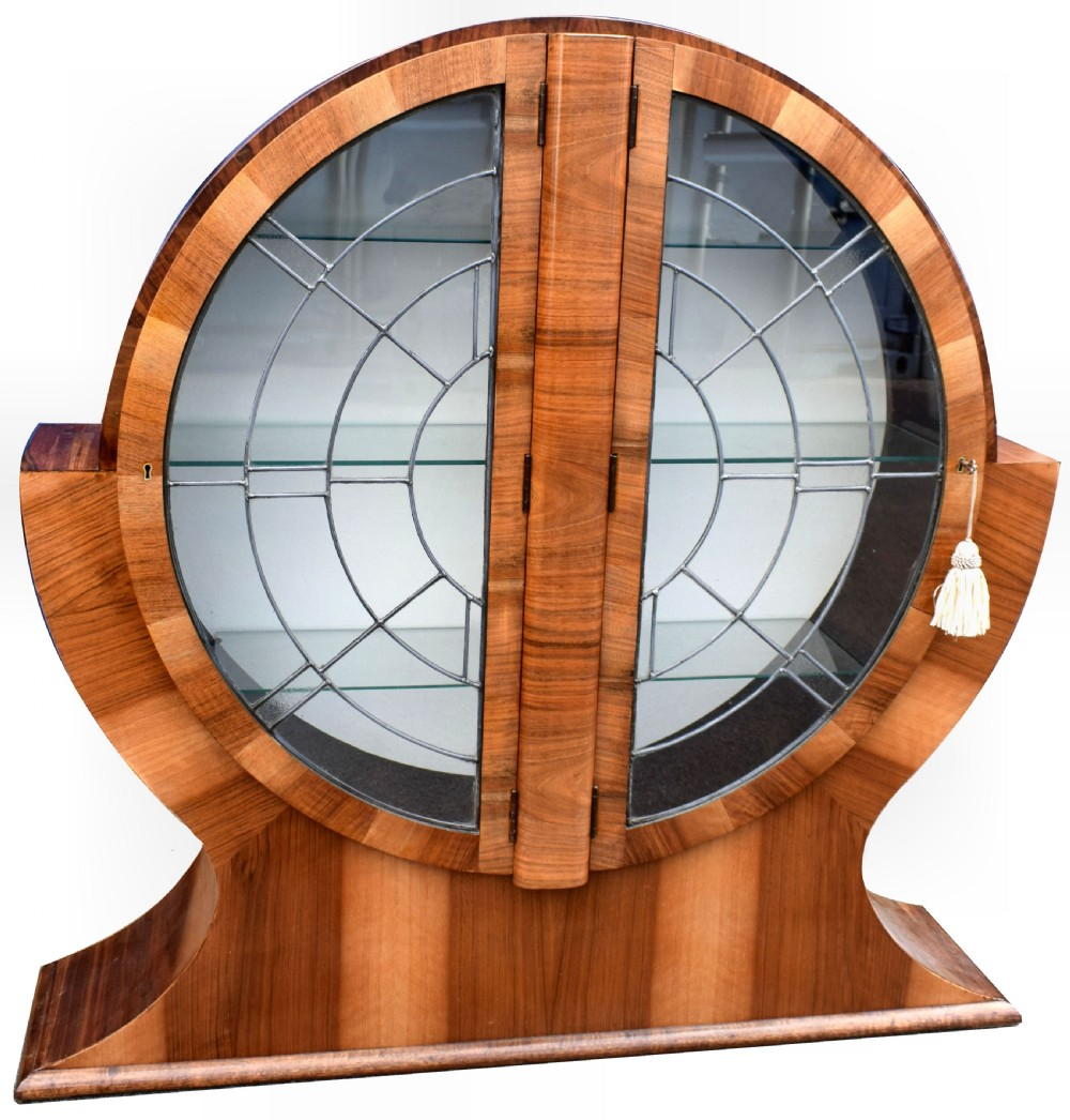 1930s art deco circular display cabinet in walnut