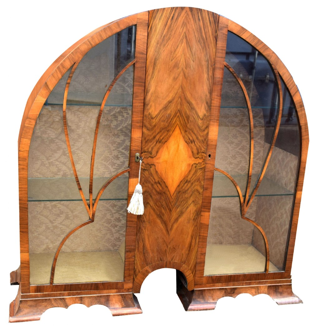 art deco cathedral display cabinet c1930