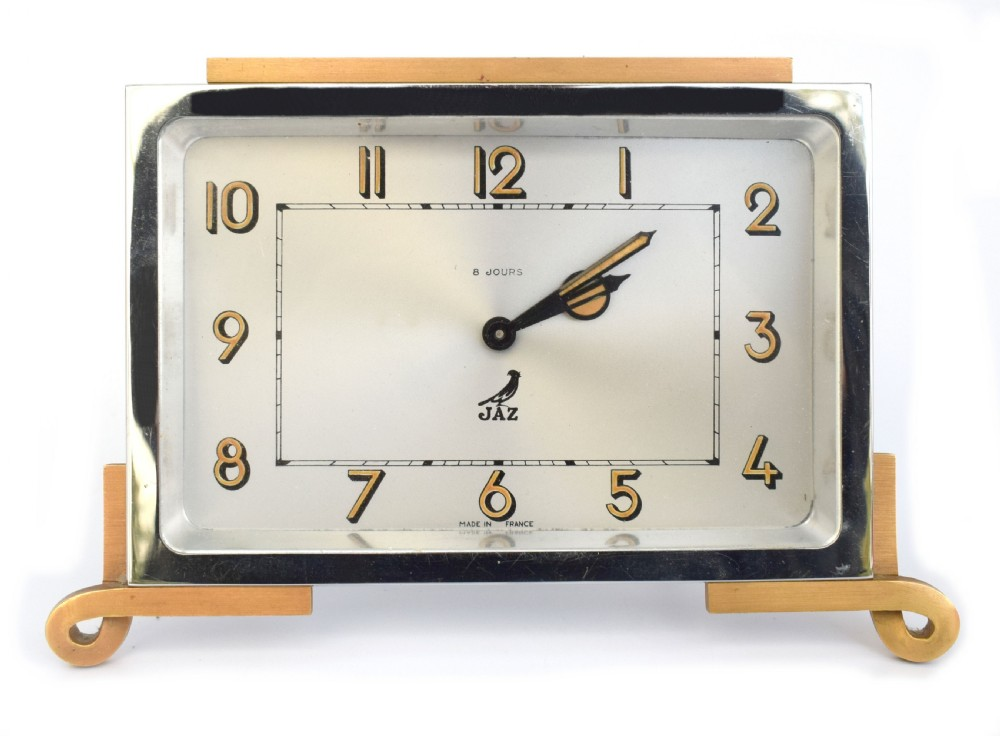 art deco french 8 day chrome clock by jaz c1930