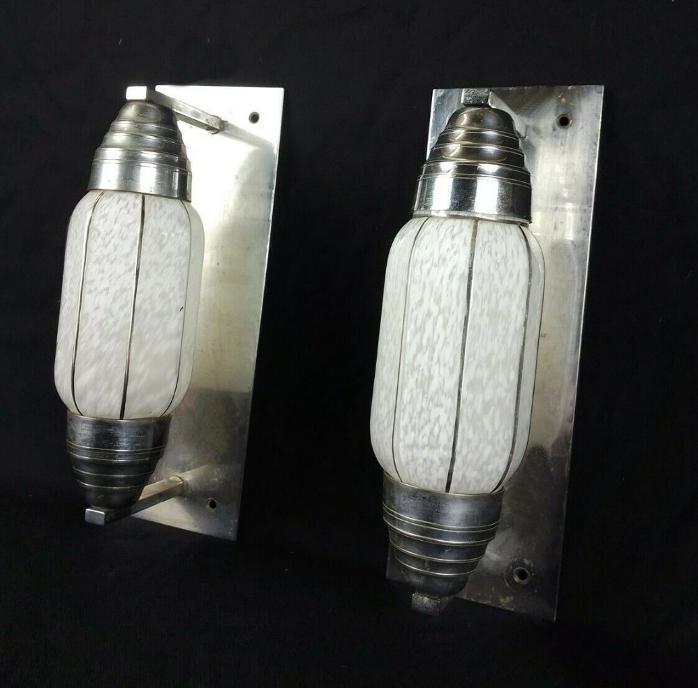 art deco machine age bullet shaped wall lights c1930