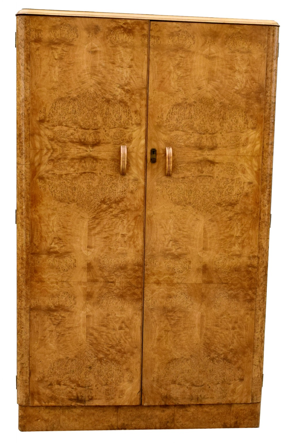 art deco heavily figured blonde walnut double wardrobe c1930