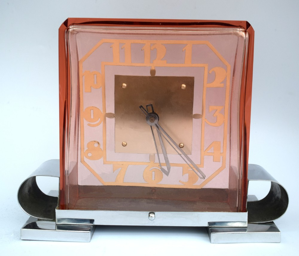 rare art deco modernist french mantle clock c1930