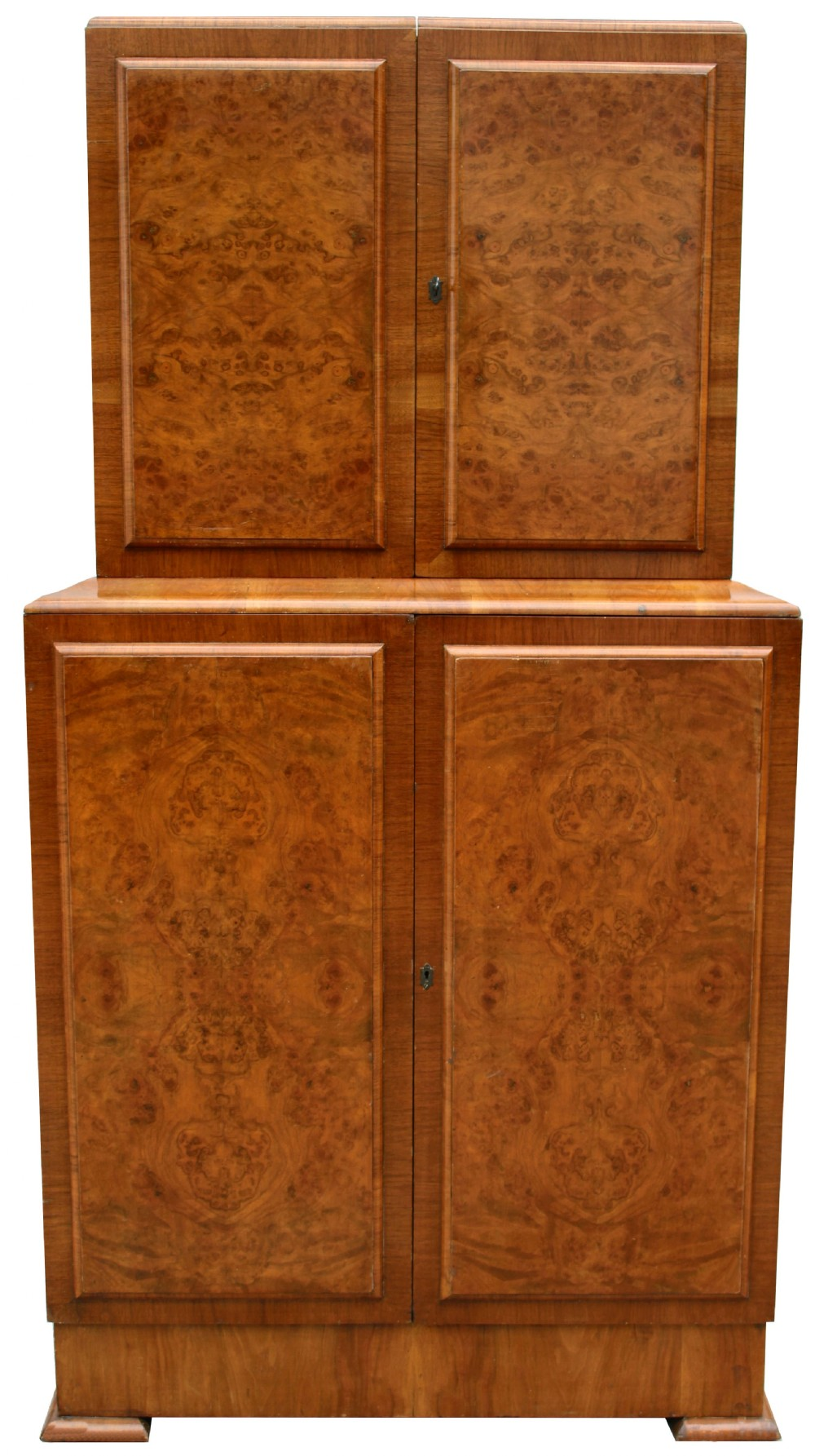 art deco 1930's walnut fronted cocktail drinks cabinet