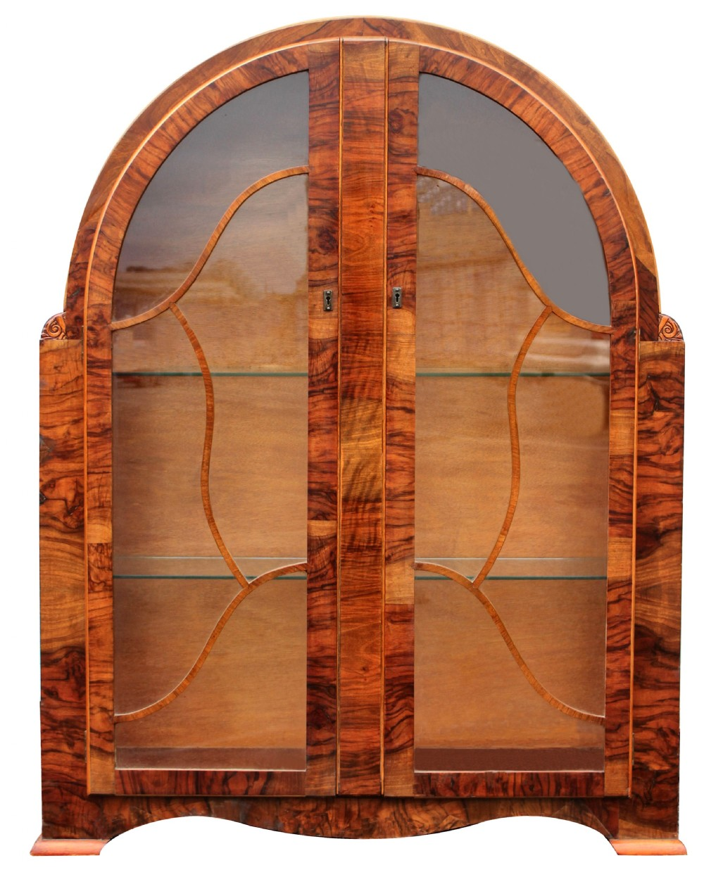 art deco heavily figured walnut display cabinet c1930